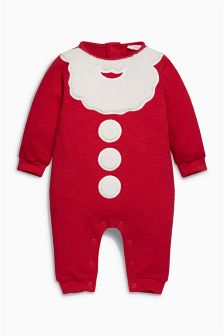 Red Santa Jersey Romper (0mths-2yrs)