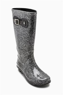 Grey Glitter Wellington Boots (Older Girls)