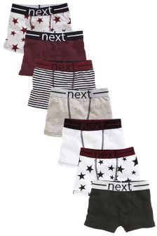 Plum/Grey Star Trunks Seven Pack (2-16yrs)