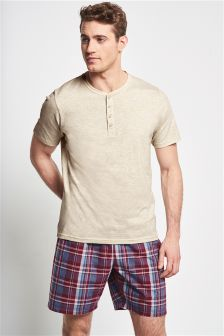 Red Madras Check Woven Short Set