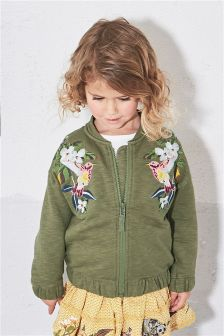 Khaki Embroidered Bomber Jacket (3mths-6yrs)