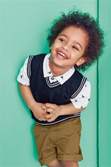 Navy/White All Over Print Polo And Tank Set (3mths-6yrs)