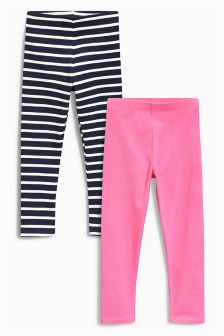 Navy/Pink Stripe Leggings Two Pack (3mths-6yrs)