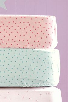 2 Pack Bright Dots Printed Fitted Sheet Set