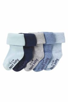 Five Pack Blue Roll Top Socks (0mths-2yrs)