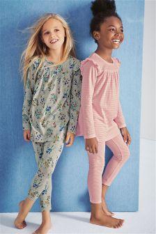 Pink/Grey Frill Sleeve Pyjamas Two Pack (3-16yrs)