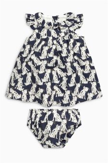 Navy Dog Print Prom Dress And Knickers Set (0mths-2yrs)
