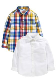 Orange/White 2 Pack Long Sleeve Shirt (3mths-6yrs)
