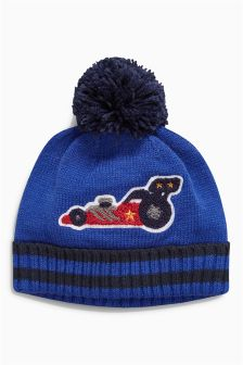 Blue Car Bobble Beanie (Younger Boys)