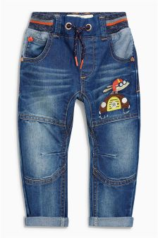 Dark Blue Rib Waist Jeans (3mths-6yrs)
