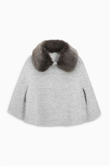 Cape With Faux Fur Collar