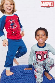 Blue Marl Spider-Man™ Pyjamas Two Pack (9mths-8yrs)