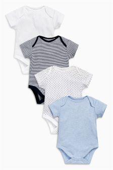 Blue Short Sleeve Bodysuits Four Pack (0mths-3yrs)