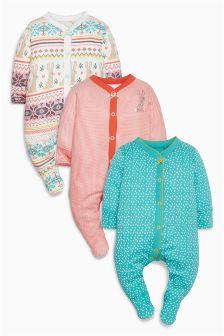 Ecru Bunny Fairisle Pattern Sleepsuits Three Pack (0mths-2yrs)