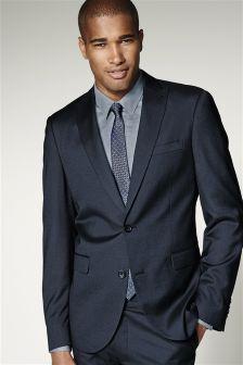 Blue Shiny Slim Fit Suit: Jacket