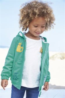 Green Cat Embellished Hoody (3mths-6yrs)