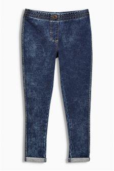 Blue Washed Denim Look Leggings (3-16yrs)