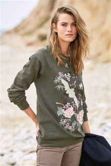 Green Embroidered Crew Sweat Top