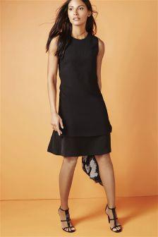 Black Layered Hem Crepe Dress