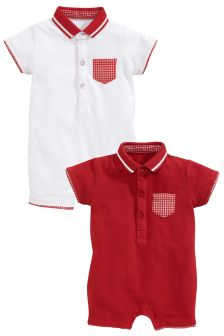Red/White Jersey Rompers Two Pack (0mths-2yrs)