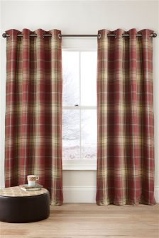 Red Woven Check Stirling Eyelet Curtains