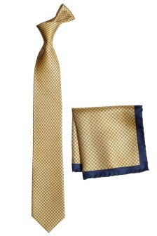 Signature Gold Printed Tie And Pocket Square