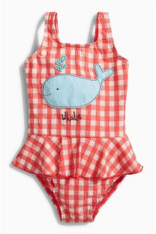 Red/White Skirted Whale Applique Swimsuit (3mths-6yrs)