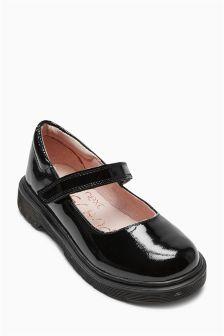 Black Patent Stitch Down Shoes (Older Girls)
