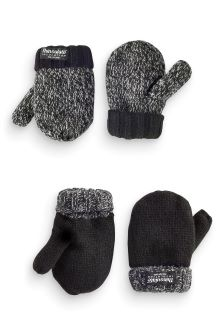 Grey Knitted Mittens Two Pack (Younger Boys)