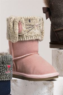 Knit Bunny Pull-On Boots (Younger Girls)