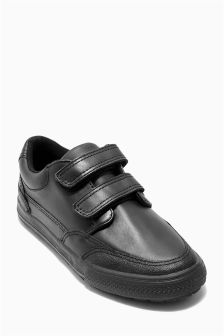 Black Leather Strap Shoes (Older Boys)