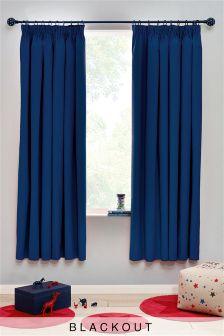 Cotton Black Out Pencil Pleat Curtains