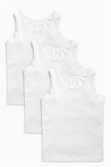 Three Pack White Vests (18mths-16yrs)