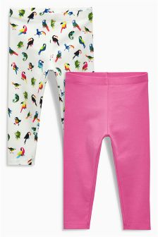 Pink/Parrot Print Leggings Two Pack (3mths-6yrs)
