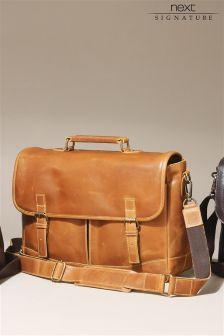 Signature Tan Leather Satchel