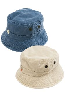 Blue/Stone Fisherman's Hats Two Pack (Older Boys)