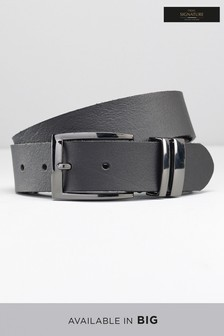Black Leather Gunmetal Keeper  Belt