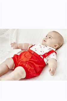 Two Piece Shirt And Shorts Set With Braces (0mths-2yrs)