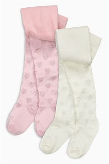 Pink/Neutral Heart Tights Two Pack (0mths-6yrs)