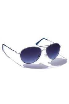 Blue And Silver Metal Aviator Style Sunglasses