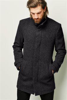 Grey Zip Funnel Neck Coat