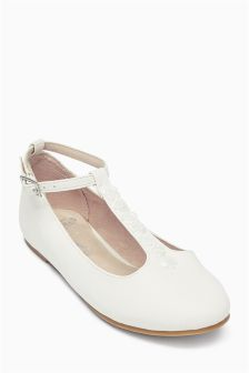 White Bridesmaid T-Bar Shoes (Older Girls)