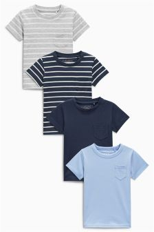 Blue Stripe Short Sleeve T-Shirts Four Pack (3mths-6yrs)