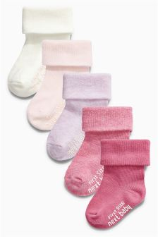 Five Pack Pink Socks (0-18mths)