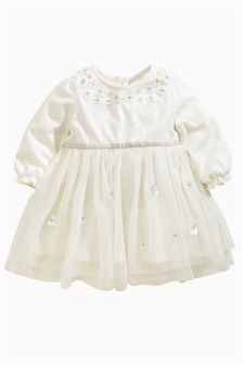 Cream Cream Flower Dress (0-18mths)