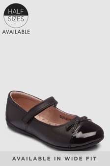 Black Patent Toe Cap Shoes (Older Girls)