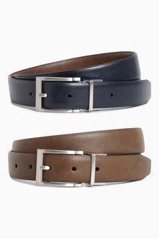 Tan And Navy Reversible Belt