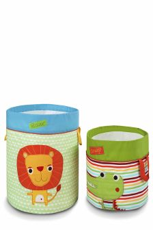 Set Of 2 Jungle Brights Fabric Storage Tubs