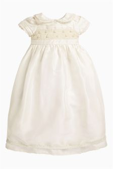 Cream Full Length Silk Christening Dress (0-18mths)