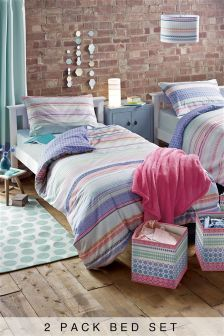 2 Pack Tile Stripe Print Bed Set